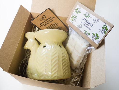 Yellow Ceramic Peacock Wax Burner + Wax Melt (of your choice) - Gift Set
