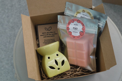 Green - Leaf Cut Out Wax Burner + 2 Melts (of your choice) - Gift Set