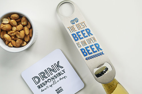 'Cheeky humour quote' - Stainless Steel 'Bar Blade' Bottle Opener