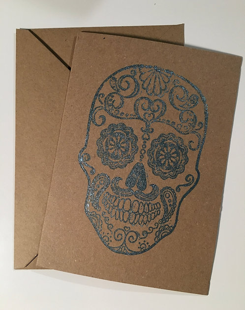 Sugar Skull Greeting card - Metallic Blue