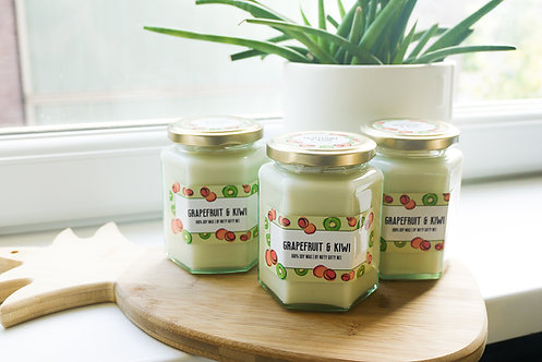 Grapefruit & Kiwi Scented Soy Wax Candle - Vegan Friendly