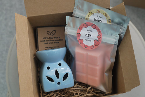 Blue - Leaf Cut Out Wax Burner + 2 Melts (of your choice) - Gift Set