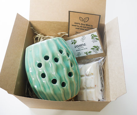 Teal Sea Urchin /CactusCeramic Wax Burner + Wax Melt (of your choice) - Gift Set