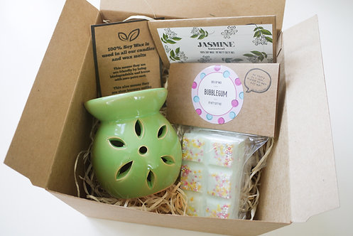Mini Petal Wax Burner (of your colour) + 2 Melts (of your choice) - Gift Set