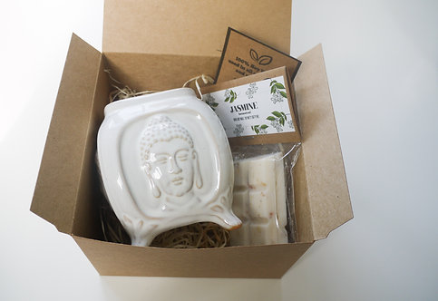 White Buddha Ceramic Wax Burner + Wax Melt (of your choice) - Gift Set