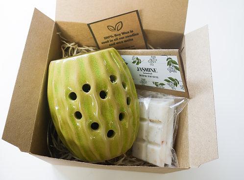 Green Sea Urchin / Ca/ Ceramic Wax Burner + Wax Melt (of your choice) - Gift Set
