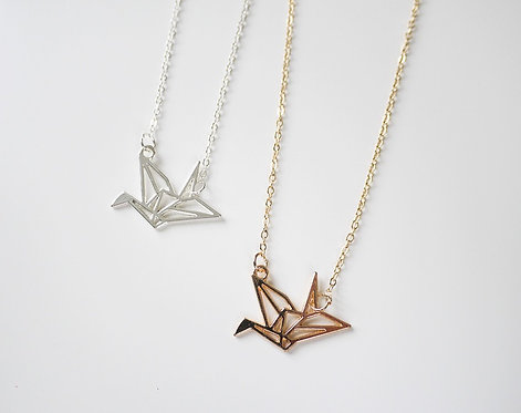 Origami Crane Geometric Style Necklace (Gold / Silver)