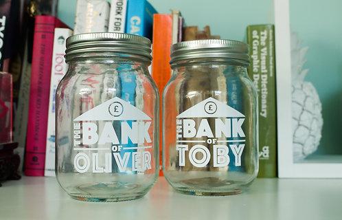 """Personalised Money / Coin Jar - """"The Bank of (Name)"""" - Mason Jar"""