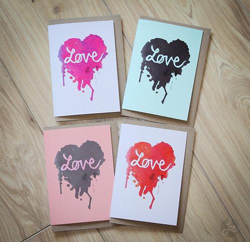 Valentine's Card Love Heart Ink Splatter Range