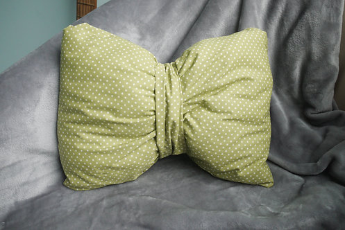 Bow Cushion - Polka Dot Green - Medium