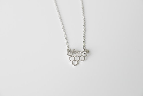 Bee on Hive Necklace - Silver