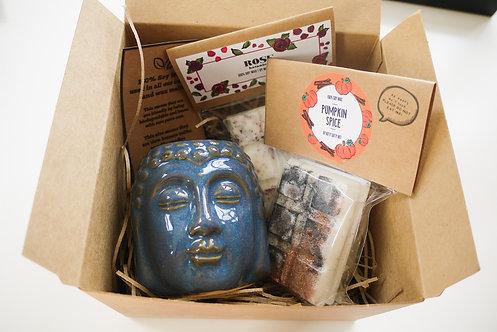 Blue - Buddha Head Ceramic Wax Burner + 2 Melts (of your choice) Gift Se