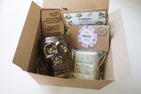 Mini Bronze Skull Ceramic Wax Burner + 2 Melts (of your choice) - Gift Set
