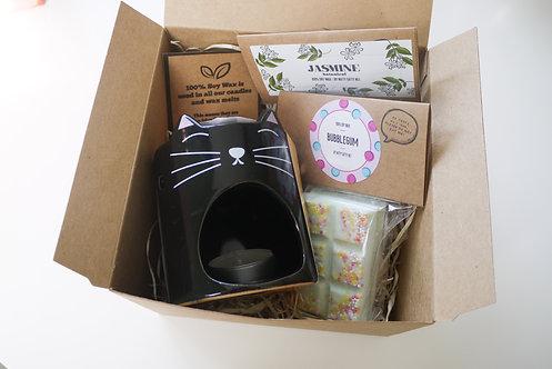 "Black Cat ""Feline Fine"" Ceramic Wax Burner + 2 Melts (of your choice) -Gift Set"