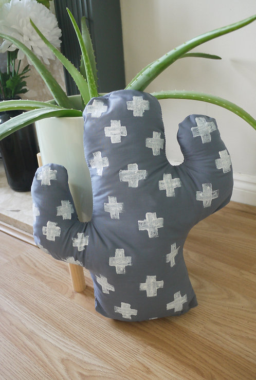 Grey Cactus Shaped Cushion - Handmade and painted