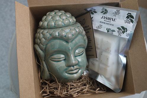 Crackle Glaze Thai Buddha - Ceramic Wax Burner + 1 Melt(of your choice) Gift Set