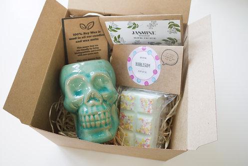 Mini Aqua Skull Ceramic Wax Burner + 2 Melts (of your choice) - Gift Set