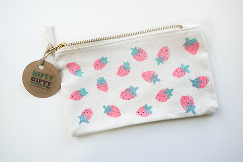 Pink Strawberry Hand Painted Patterned Handmade Cosmetic / Pen case