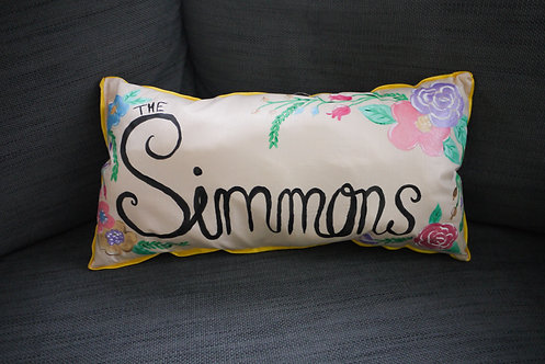 Custom Rectangle Floral Cushion - Handmade and Painted