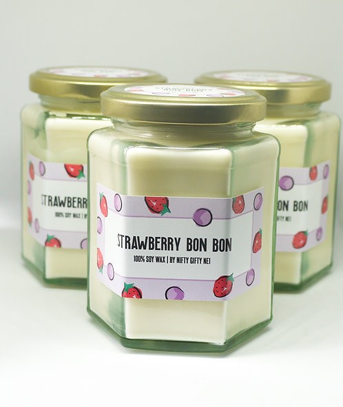 Strawberry Bon Bon Scented Soy Wax Candle - Vegan Friendly