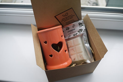 Orange - Tall Tart Heart Ceramic Wax Burner + 1 Melt (of your choice) Gift Set