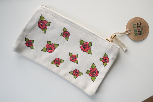 Red Rose Patterned Handmade Cosmetic / Pen case