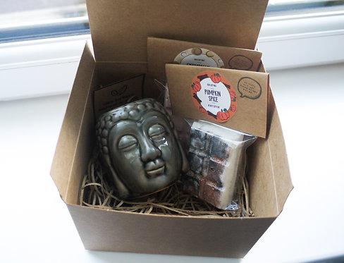 Grey - Buddha Head Ceramic Wax Burner + 2 Melts (of your choice) Gift Set