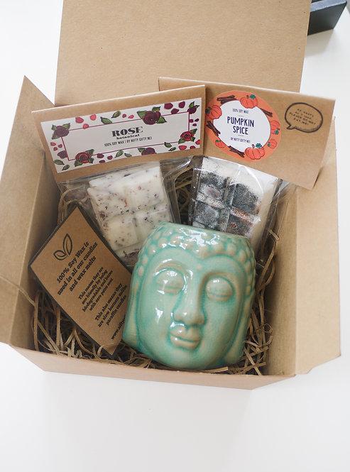 Teal - Buddha Head Ceramic Wax Burner + 2 Melts (of your choice) -