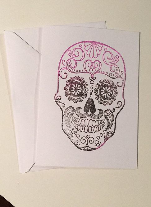 Sugar Skull Greeting card - Purple to Black Ombré