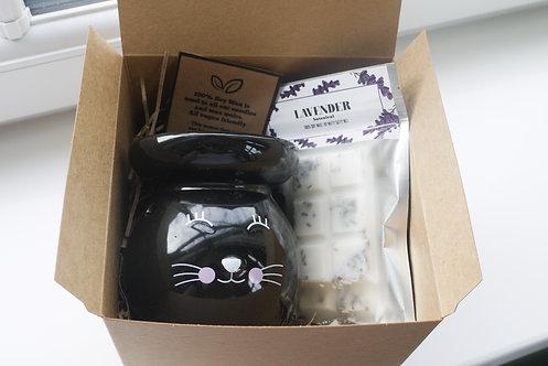 Black Large Round Cat Ceramic Wax Burner + 2 Melts (of your choice) - Gift set