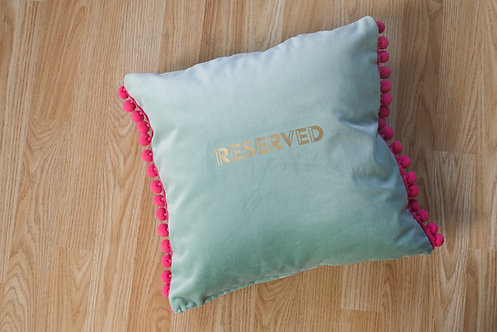 """Reserved"" Pastel Green Soft Velvet material - handmade with big pom pom trims"