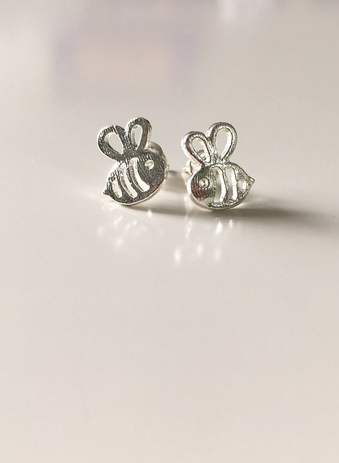 Silver Bumble Bee Stud Earrings