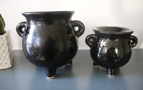 Black Witch's Cauldron Ceramic Wax / Oil burner - Small / Large