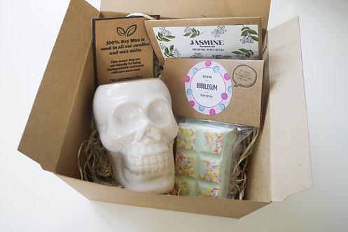 Mini White Skull Ceramic Wax Burner + 2 Melts (of your choice) - Gift Set