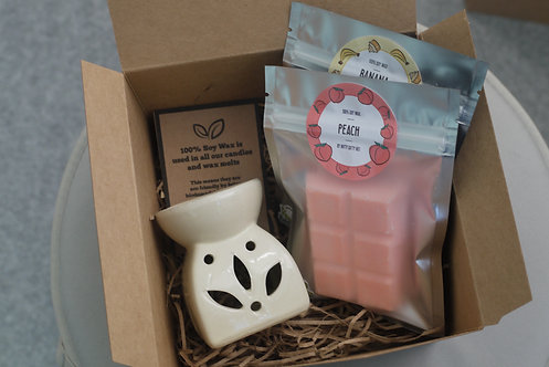 Cream - Leaf Cut Out Wax Burner + 2 Melts (of your choice) - Gift Set