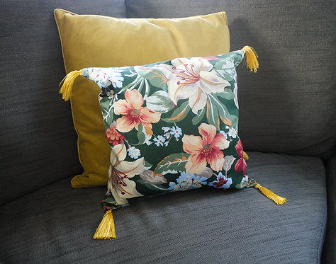 Floral Square Cushion with Golden tassels - Handmade