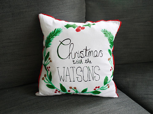 Custom Christmas Cushion - Handmade and Painted