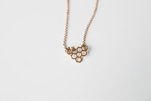 Bee on Hive Necklace - Gold