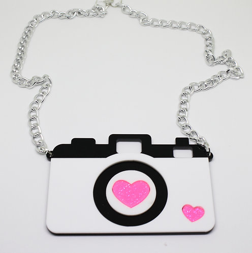 Glitter Heart Camera Necklace