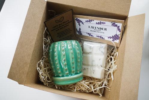 Mini (Teal) Cactus Ceramic Wax Burner + 2 Melts (of your choice) - Gift Set