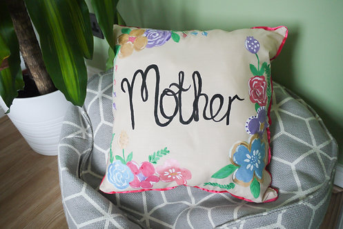Custom Square Floral Cushion - Handmade and Painted