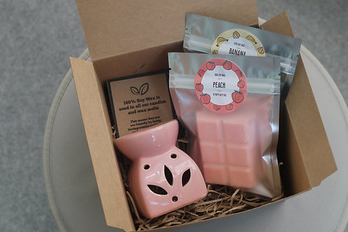 Pink - Leaf Cut Out Wax Burner + 2 Melts (of your choice) - Gift Set