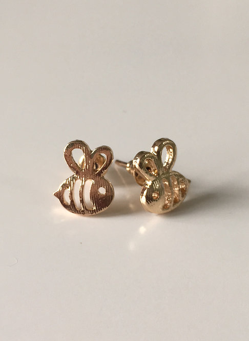 Golden Bumble Bee Stud Earrings