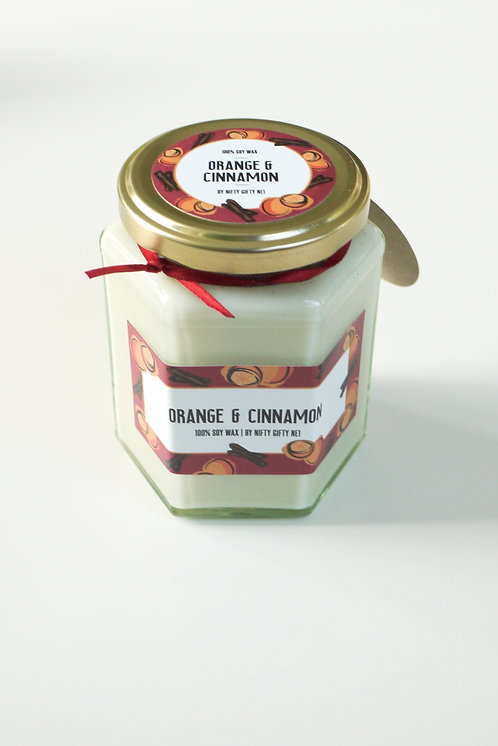 Orange & Cinnamon scented - Christmas Soy Wax candle - Vegan Friendly