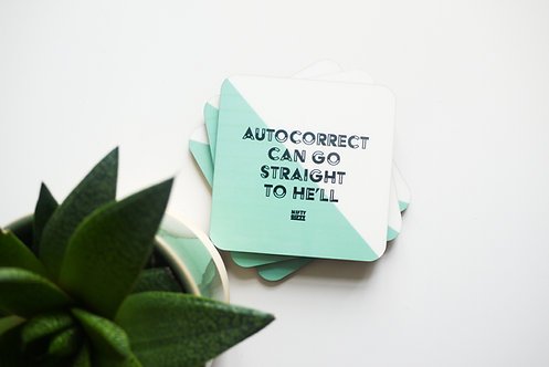 "Humorous ""Autocorrect"" Quote Coasters"