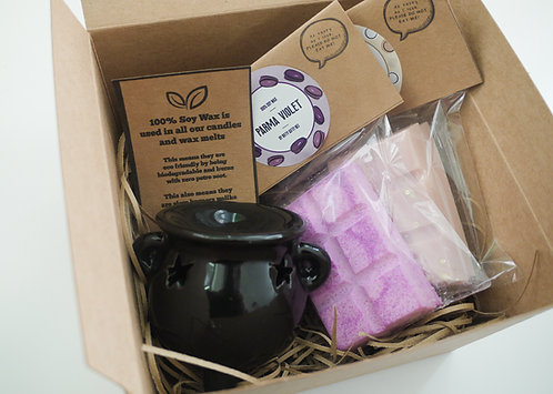 Small - Black Witch's Cauldron Ceramic  + 2 Melts (of your choice) Gift Set