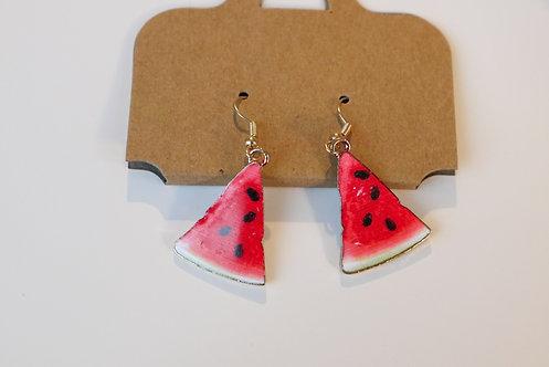 Watermelon enamel dangle earrings