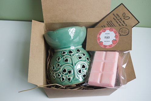 Green-Tree Pattern - Large Ceramic Wax Burner + 1 Melt (of your choice) Gift Set