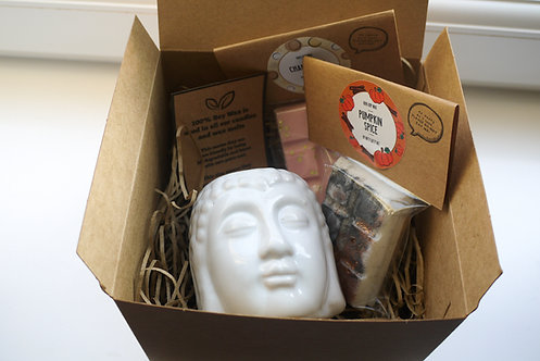 White - Buddha Head Ceramic Wax Burner + 2 Melts (of your choice) Gift Se