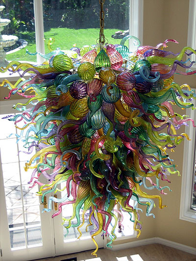 Malibu Chihuly Chandelier in home